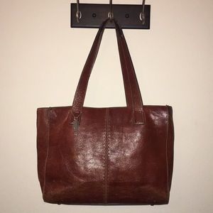 FOSSIL Brown Leather Large Shopper Tote Bag ZB9010